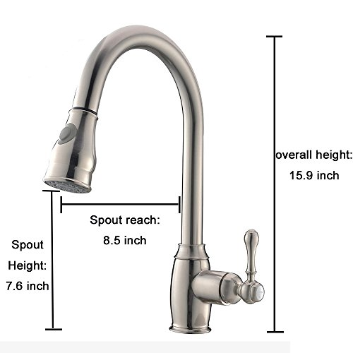 VCCUCINE Modern Solid Brass Pull Out Single Handle Stainless Steel Pull Down Sprayer Kitchen Faucet, Brushed Nickel Kitchen Sink faucets by VCCUCINE (Image #1)