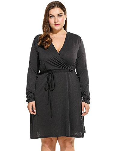 Donne V Anteriore Più Con A Beyove Spacco Balck Profondo Dress Wrap Scollo Bodycon Dimensioni B8xBgqw6r