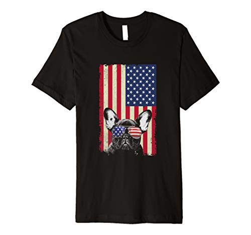 - French Bulldog American Flag Vintage Independence Day   Premium T-Shirt