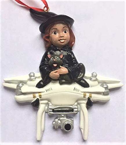 Witch Flying On Drone Halloween Christmas Tree Ornament Cute Fun Decoration Gift