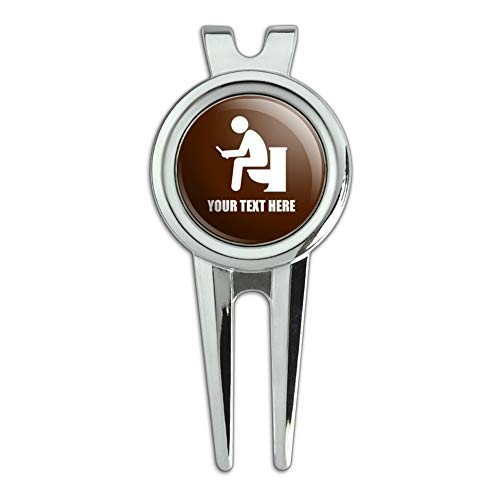 GRAPHICS & MORE Personalized Custom 1 Line Man Pooping on Toilet Funny Golf Divot Repair Tool and Ball Marker