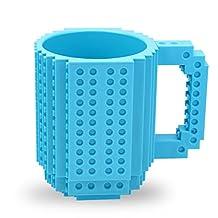 Creative DIY Brick Mug Lego Style Puzzle Mugs, Building Blocks Water Bottle Frozen Coffee Mug, Cute Mugs Toy Gifts (Blue)