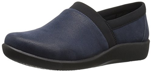 Clarks Womens Cloudsteppers Sillian Blair Slip-on Mocassino In Nabuk Sintetico Blu Marino
