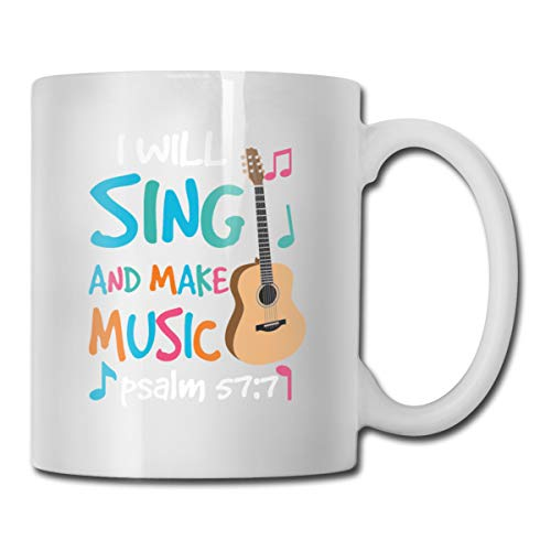 Roing Bo Coffee Mugs 11oz Funny Cup Milk Juice Or Tea Cup I Will Sing and Make Music Psalm Birthday ()