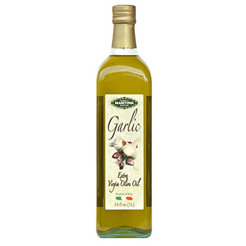 Mantova Italian Garlic Italian Extra Virgin Olive Oil - 100% Natural, Great Taste - 34 Oz (Pack Of 2) - Product Of Italy