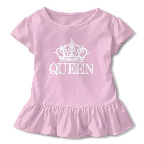 Lookjufjiii80 Toddler Girls' Queen Crown Short Sleeve Dress Ruffle T Shirts Tops Tee Clothes Pink -