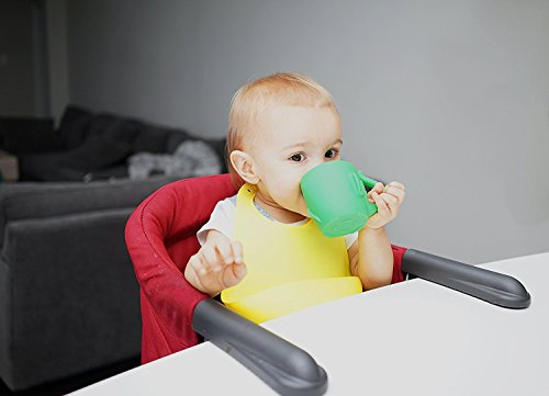 Baby Kid Sippy Cup Mug For Toddlers Learning Cup Elephant Design Great For Baby's Interaction Dexterity Food Grade Silicone BPA FREE Bambini Bear - Lime Green by Bambini Bear (Image #5)