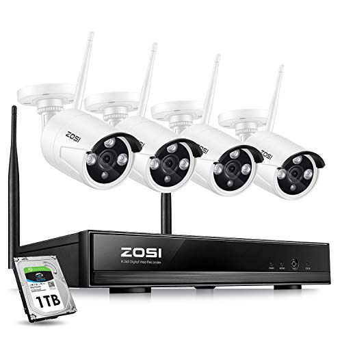 ZOSI Wireless Security Cameras System,1080P HD Network IP NVR with 1TB Hard Drive and (4) HD 1.3MP 960P Wireless Weatherproof Indoor Outdoor Surveillance Cameras with 100ft Night vision