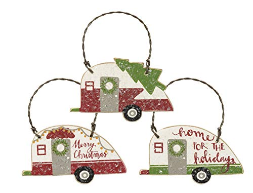 PBK Small Retro Camper Christmas Tree Ornaments - Set of 3 - Perfect for Mini Tree or Gift Wrap Accent (Ornament Camper Vintage Christmas)