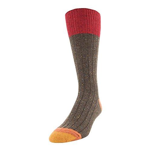 Gold Toe Men's Patterned Fashion Dress Crew Socks, 1 Pair, Color Block Tweed, Shoe Size: 6-12.5