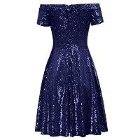 GRACE KARIN Women Sequin Bridesmaid Short Sleeve Strapless Ruched Evening Dress