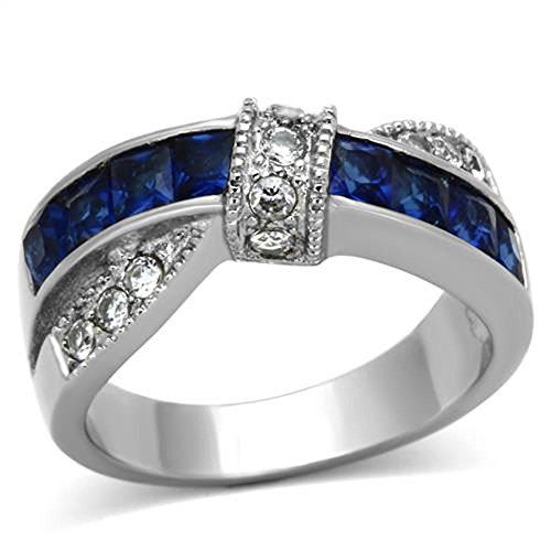 Women Wedding Ring Stainless Steel Blue Princess Cut