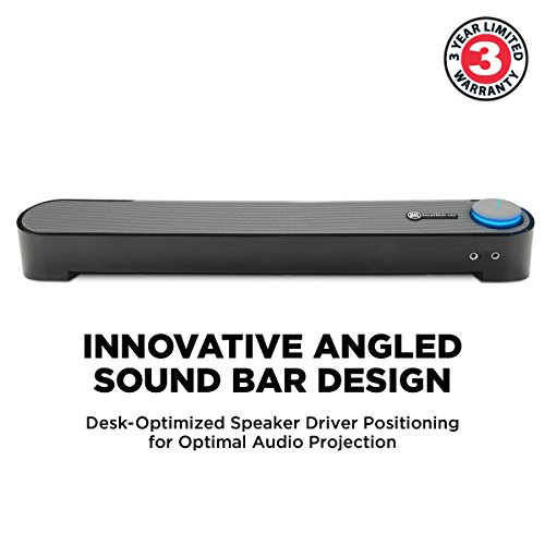 GOgroove Computer USB Powered Mini Sound Bar - SonaVERSE UBR Wired Soundbar Speaker 16.5'' w/Front Access Mic & Headphone Jacks, LED Volume Dial, Angled Design for Desktop, PC, Laptop (Black) by GOgroove (Image #1)