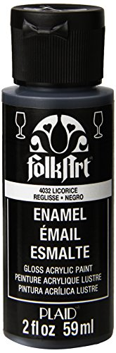FolkArt Enamel Glass & Ceramic Paint in Assorted Colors (2 oz), 4032, Licorice -