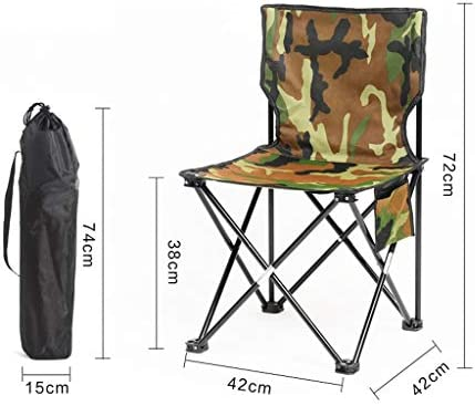 XXHDEE Chair Outdoor Folding Chair Camping Chair Portable Chair Beach Chair Fishing Chair Stool Camouflage Lounge chair (Size : M)