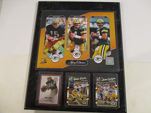GREEN BAY PACKERS LEGACY COLLECTION PHOTO PLUS 3 CARDS FEATURING BART STARR - BRETT FAVRE - AARON RODGERS MOUNTED ON A 12