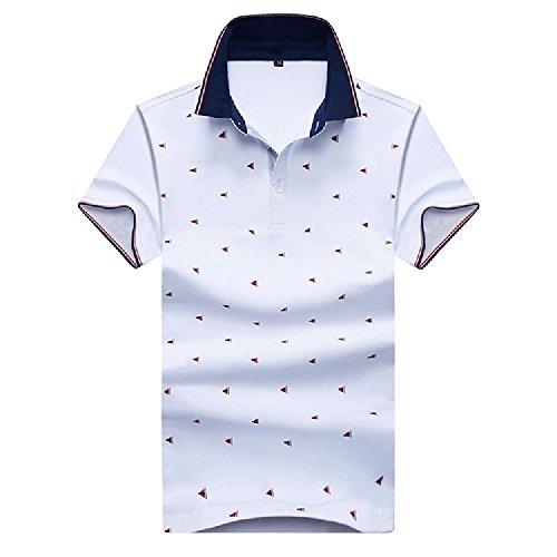WUHUI アウター メンズ 半袖 ポロシャツ 水玉柄 ゴルフウェア おしゃれ スポーツシャツ キレイメ ゴルフ 通気性 吸汗速乾 (XXXL, 白い)