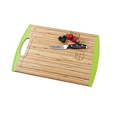 Bamboo Cutting Board with Silicone Edges By The Kitchen Love - No More Mold On Your Cutting Board -Perfect size-Non Slip-Antimicrobial-Non Toxic-Juice Grooves-with Handle (Green)