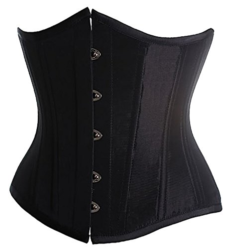 Alivila.Y Fashion Sexy Vintage Underbust Corset Bustier 2868A With G-String-Black-XXL/Bust:38-40inch Waist:32-34inch