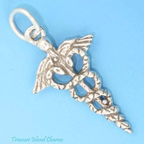 MD RN MEDICAL caducée Asclepius Staff 925 Solid Sterling Silver Charm Usa Made