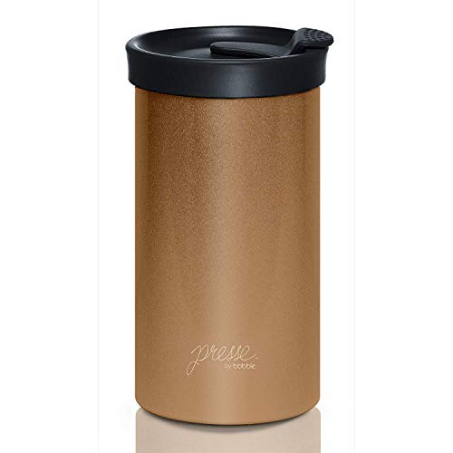 Bubble Bobble Double Shot - Presse by bobble Coffee & Tea Maker, Press Coffee Maker, Travel Tumbler, Stainless Steel, On the Go Brewer, Brew Press & Go, Portable Coffee Brewer and Tumbler in One, 13 oz., Copper