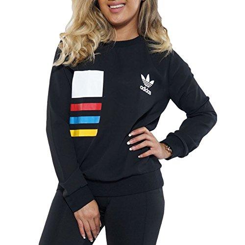 Adidas Crew Neck Sweatshirt (adidas Originals Womens Chiffon Crewneck Jumper - Black - XS)