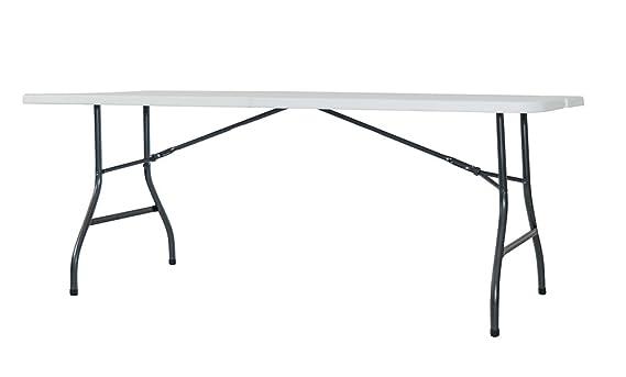 Newstorm Oskar - Mesa plegable, 182.3 x 74.2 x 74.3 cm, color blanco: Amazon.es: Jardín