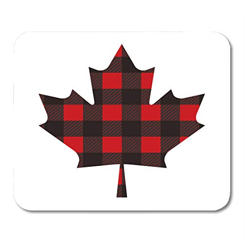 Maple Country Desk (Emvency Mouse Pads Canada Canadian Maple Leaf Made Out of Classic Red and Black Plaid Pattern in Graphic Mouse pad Mats 9.5