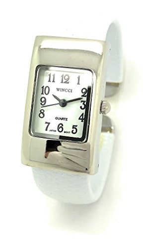 Leather Cuff Bangle Fashion Watches (Ladies Small Rectangle Snakeskin Leather Bangle Cuff Watch White Dial Wincci (white))