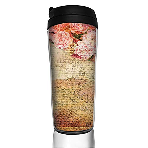Stainless Steel Insulated Coffee Travel Mug,Combined with Roses and Old Love Letters,Spill Proof Flip Lid Insulated Coffee cup Keeps Hot or Cold 11.8oz(350 ml) Customizable ()