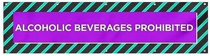 Modern Block Wind-Resistant Outdoor Mesh Vinyl Banner 16x4 CGSignLab Alcoholic Beverages Prohibited