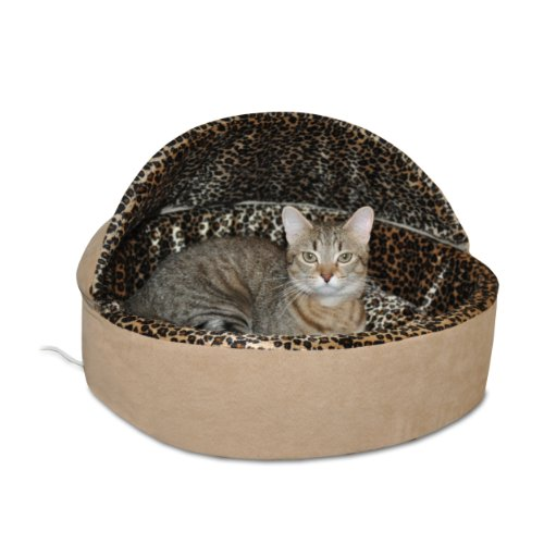 K&H Pet Products Thermo-Kitty Heated Pet Bed Deluxe Large Tan/Leopard 20