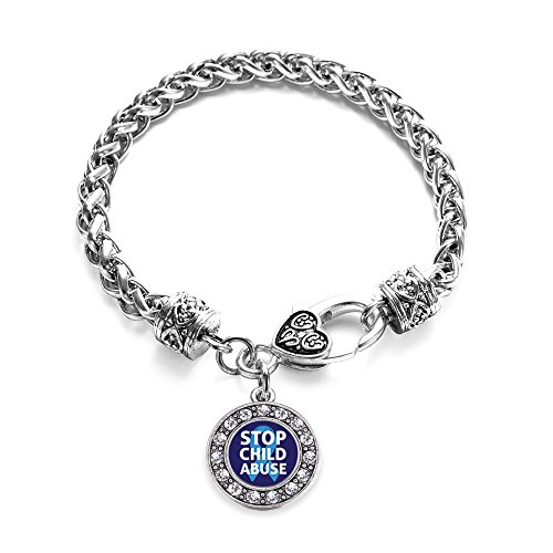 Inspired Silver Stop Child Abuse Circle Charm Bracelet Silver Plated with Crystal ()
