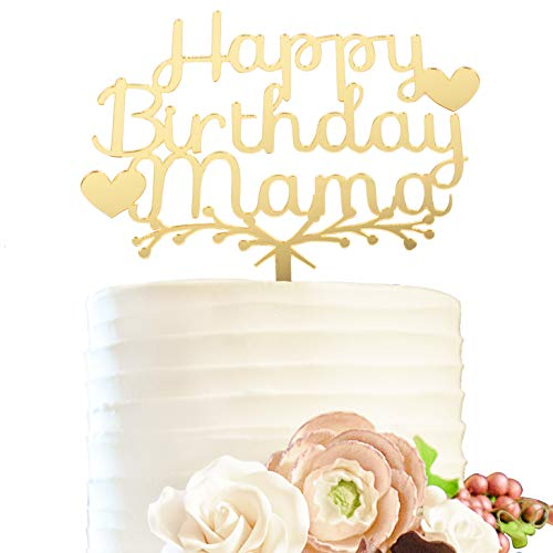 Happy Birthday Mama Gold Acrylic Heart Cake Topper - Cheers to Monther Birthday Party Decoration Gift Expressing -