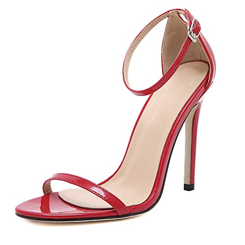 DULEE - Sandalias de vestir de piel para mujer Rojo