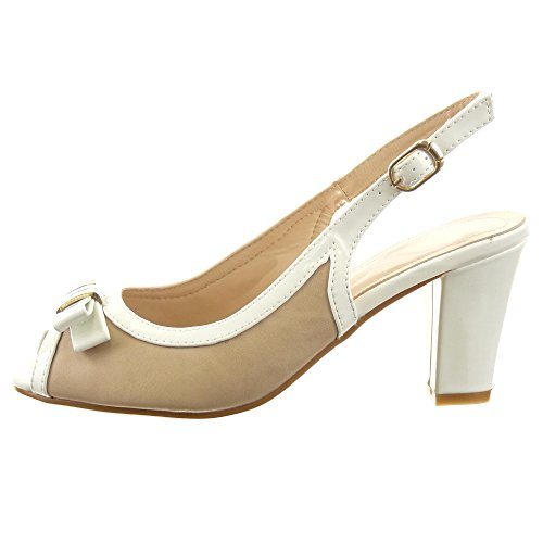 Sopily - Scarpe da Moda sandali scarpe decollete Aperto alla caviglia donna lucide nodo Tacco a blocco tacco alto 7.5 CM - Bianco