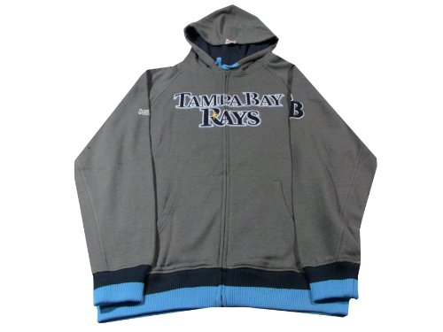 MLB Tampa Bay Rays Adult Full Zip Hooded Jacket, Charcoal, Large ()