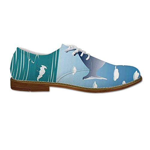 Sunny Designs Oxford (Whale Decor Oxford Dress Shoes,Ocean Sunny Landscape with Huge Jumping Whale on Air Cartoon Like Design Artwork for Men,US 12)