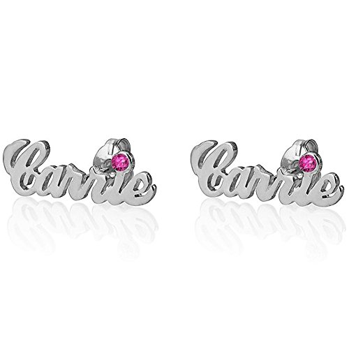 (Ouslier 925 Sterling Silver Personalized Name Earrings wih Birthstone Custom Made with Any Names (Silver))
