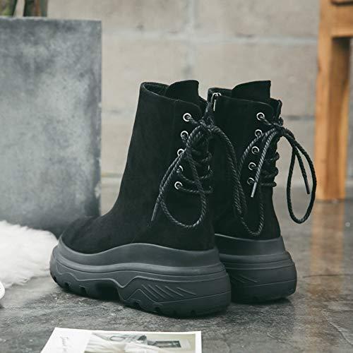 Strap Martin Booties Ankle Calf Mid Comfortable Cotton Shoe Women's Big Boots Black Cowboy Lace Fashion Trendy up Retro Boot v8EwCq0n
