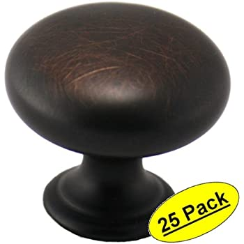 "Cosmas 4950ORB Oil Rubbed Bronze Cabinet Hardware Round Mushroom Knob - 1-1/4"" Diameter - 25 Pack"