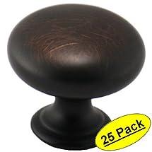 "Cosmas® 4950ORB Oil Rubbed Bronze Cabinet Hardware Round Mushroom Knob - 1-1/4"" Diameter - 25 Pack"