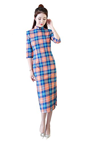 asiatische Cheongsam Frauen Qipao Partei Blue Orange Pattern Party Plaid Acvip Kleid Yfvb6g7y