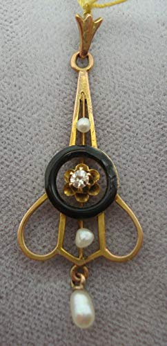 Victorian Gold Enamel Lavaliere Pendant with Compatible for Genuine Natural Diamond (#1506) ()