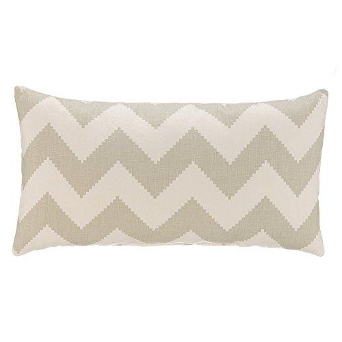 Grouchy Goose Chevron Linen Lumbar Pillow Cover, Dove Grey