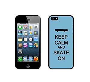 Keep Calm And Skate On - Aqua - Protective Designer WHITE Case - Fits Apple iPhone 5 / 5S