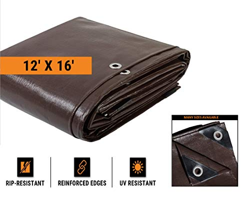 (12' x 16' Super Heavy Duty 16 Mil Brown Poly Tarp Cover - Thick Waterproof, UV Resistant, Rot, Rip and Tear Proof Tarpaulin with Grommets and Reinforced Edges - by Xpose Safety)