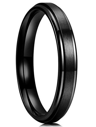 King Will BASIC Men 4MM Matte Brushed Black Titanium Wedding Ring stepped Beveled edge Comfort Fit Wedding Band 7