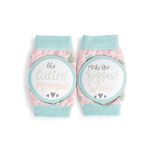 DEMDACO Littlest Mermaids Make The Biggest Waves Soft Pink and Teal Crawling Stretch One Size Fits Most Cotton Blend Fabric Infant Safety Knee Pads Kneezies
