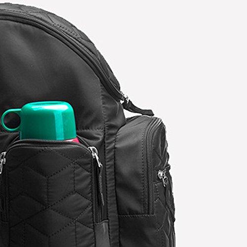 LiliChan pañal mochila con cambiar de estera, bolsa aislada, bolsa de malla para la mamá, negro